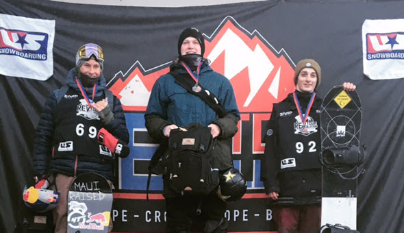 Kyle Mack (center) took the top step of the podium at Friday's Toyota U.S. Revolution Tour Slopestyle. (photo: US Snowboarding)