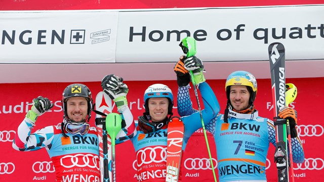 Sunday's men's World Cup slalom podium in Wengen, Switzerland. (photo: FIS/Agence Zoom)