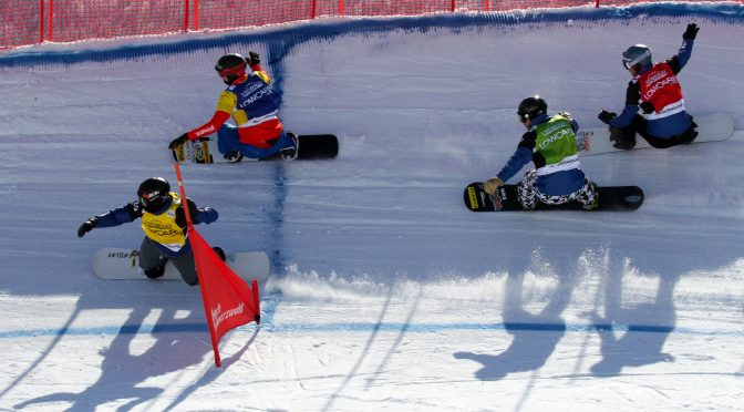 Alessandro Haemmerle (AUT) in blue, Alex Deibold (USA) in red, Nick Baumgartner (USA) in green and Cole Johnson (USA) in yellow compete in heat 4 Finals at Sunday's SBX World Cup in Feldberg, Germany. (photo: Oliver Kraus)