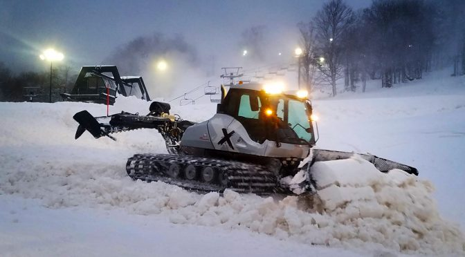 Snow is groomed at dusk in January at the Canaan Valley Resort and Conference Center in Davis, WV. (FTO photo: Martin Griff)
