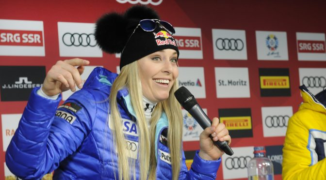 Lindsey Vonn speaks to media after her bronze medal in the downhill at the 2017 FIS Alpine World Ski Championships in St. Moritz. (photo: Tom Kelly)