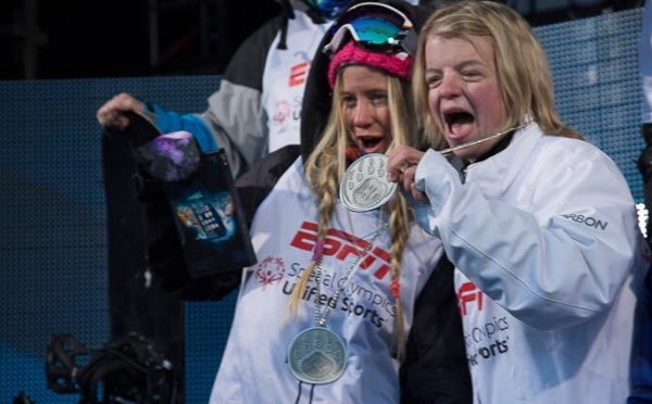 Hannah Teter and Diana Shilts celebrate together at the Special Olympics four years ago in South Korea. (photo: GoFundMe.com)