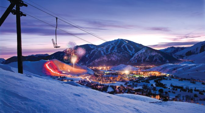 Bald Mountain forms a backdrop for the much smaller Dollar Mountain. (file photo: Sun Valley Resort)