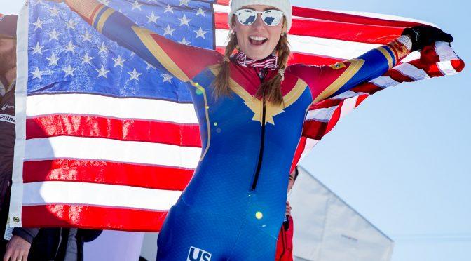A proud Mikaela Shiffrin displays the flag. (photo: U.S. Ski Team/Steven Earl)