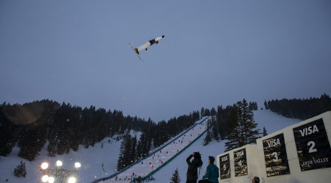 Friday night's aerials competition at tje 2017 Visa Freestyle International World Cup at Deer Valley Resort in Utah. (photo: Steven Earl)