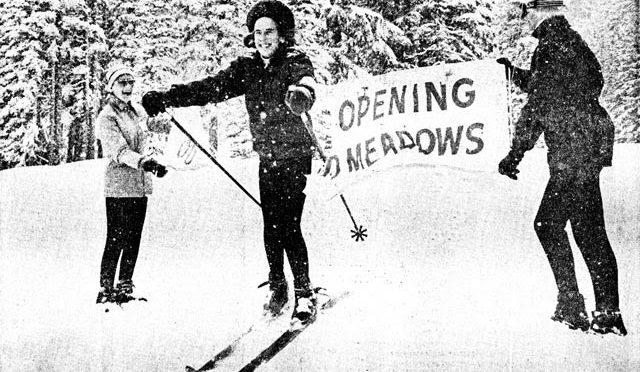 1948 Olympic gold medalist Gretchen Fraser officially opens Meadows on January 26, 1968. (photo: Mt. Hood Meadows)