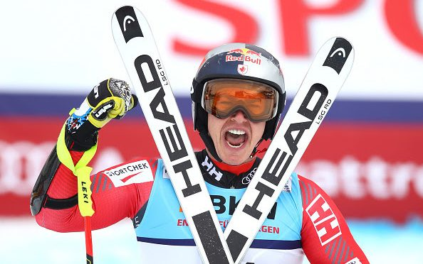 Canada's Erik Guay celebrates his super G victory on Wednesday at the FIS Alpine World Ski Championships in St Moritz, Switzerland. (photo: Getty Images- Julian Finney via USSA)