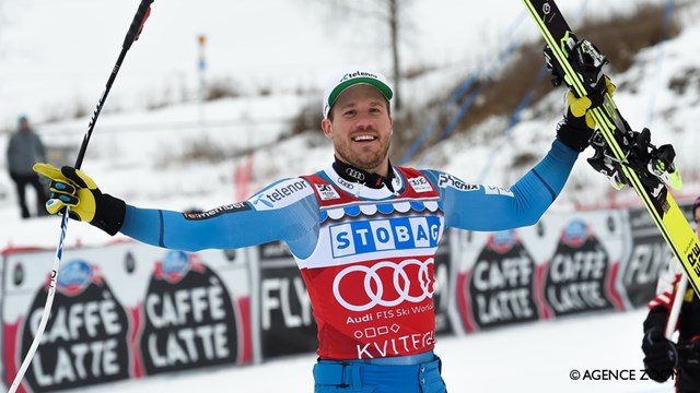 Kjetil Jansrud celebrates victory at home in Kvitfjell on Saturday. (photo: FIS/Agence Zoom)