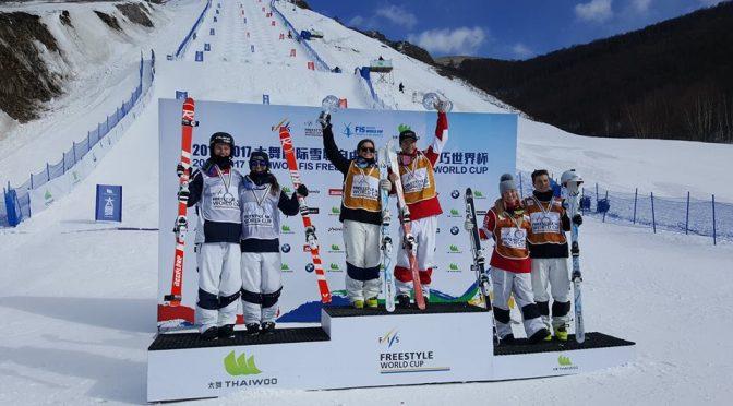 Sunday's World Cup dual moguls podium at Thaiwoo Ski Resort in China. (photo: FIS)