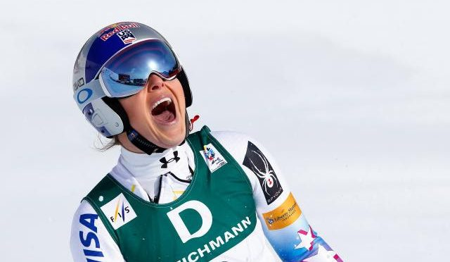 American ski racer Lindsey Vonn celebrates yet another World Cup victory in 2017. (file photo: Getty Images/Agence Zoom-Giovanni Auletta via USSA)