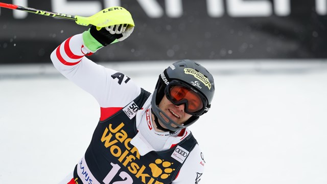 Austrian ski racer Michael Matt celebrates his career's first World Cup victory in Slovenia on Sunday. (photo: FIS/Agence Zoom)