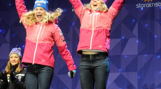 Jessie Diggins and Sadie Bjornsen celebrate their World Championship medal. (photo: U.S. Ski Team/Tom Kelly)