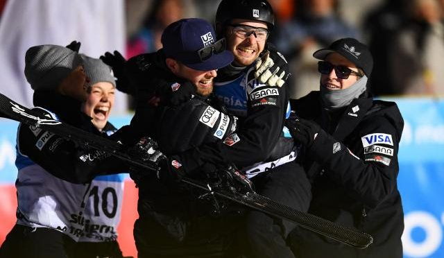 Jon Lillis and teammates celebrate his World Championship aerials win on Friday night in Sierra Nevada, Spain. (photo: Getty Images / David Ramos via USSA)