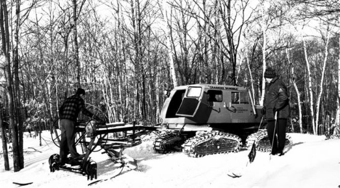 The Tucker Sno-Cat on display at the Hannes Schneider Race this weekend is similar to this one once used for grooming at Mount Cranmore. (photo: Dick Smith via NESM)