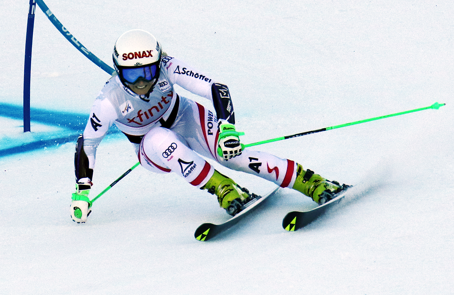 Austrian Eva-Maria Brem competes in the first run at the women's Audi FIS Ski World Cup giant slalom race at Killington in Vermont on Saturday, November 25, 2017. (FTO photo: Martin Griff)