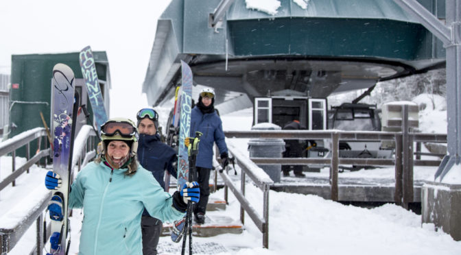 Eager guests unload Whiteface Mountain's Cloudsplitter Gondola for today's opening day at the resort in Wilmington, NY. (photo: ORDA)