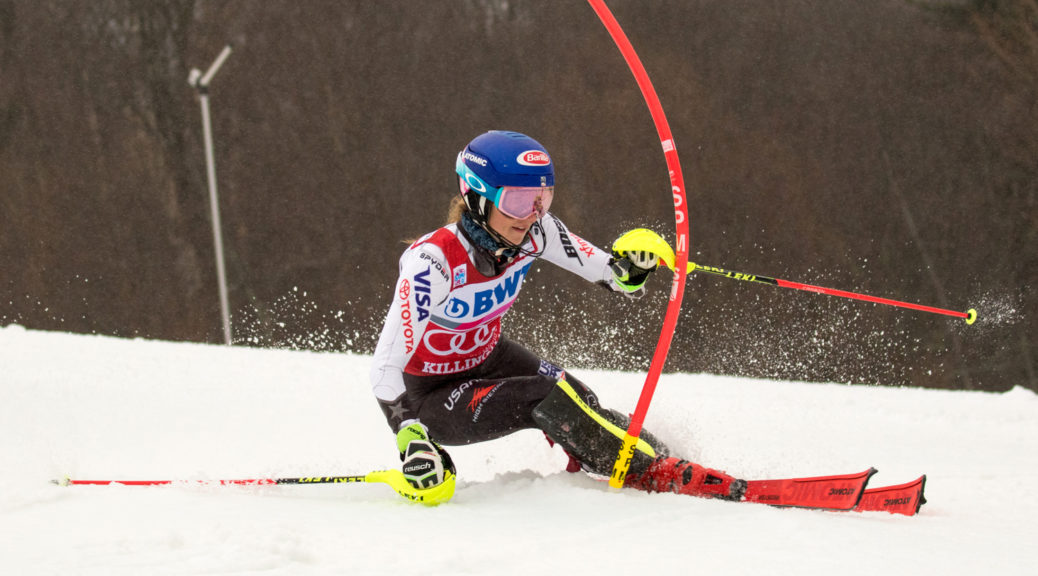 Colorado's Mikaela Shiffrin skis to a win in Sunday's World Cup slalom in Killington, Vt. (photo: USSA/Reese Brown)