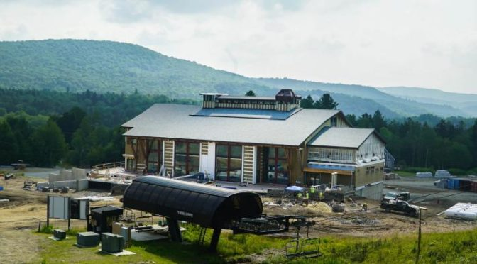 Mount Snow's new Carinthia base lodge under construction this summer. (photo: Ski Vermont)